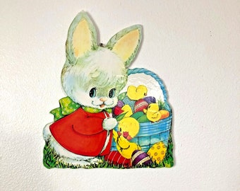 1960's Vintage Wood Die Cut  Easter Wall Decor   Home, School, Daycare, Church Spring Wall Decor with Hanger Attached   Bunny, Chicks, Duck