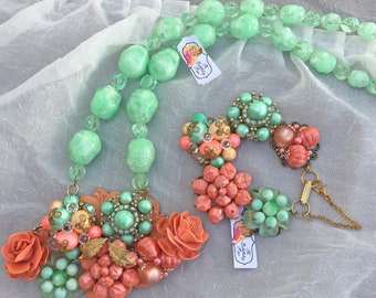 Stunning Vintage Assemblage Necklace & Matching Bracelet + Earrings ~ Mint and Coral Colors ~ Gorgeous Set