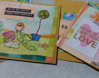 Altered Set of 2 Note Cards