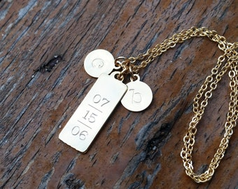 Vertical Engraved Tag Necklace - personalized jewelry, wedding gift, mother's day gift, anniversary present
