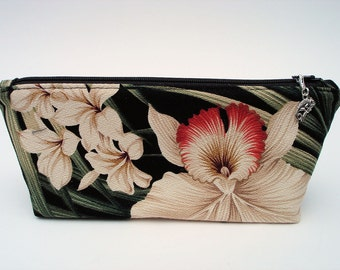 Tropical Cosmetic Bag Makeup Bag Zippered Pouch Travel Bag Organizer Clutch Toiletry Bag Gift for Woman Accessory Bag Greens Tans Ivory
