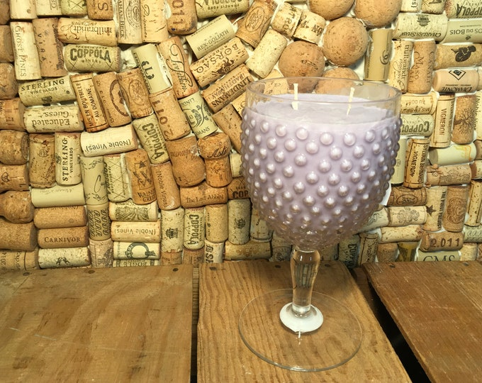 Vintage clear glass hobnail Goblet with a double wick Zen scented soy candle