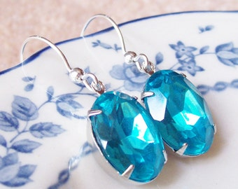 Estate Style Jewelry - Aquamarine Aqua Blue Earrings - Jewellery For Women Vintage Sterling Silver - Victorian Art Deco
