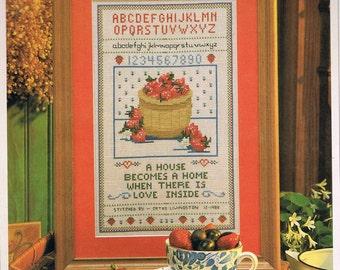 Strawberry Sampler Cross Stitch Pattern - Strawberry Welcome Cross Stitch Chart - Fruit Cross Stitch - Kitchen Decor