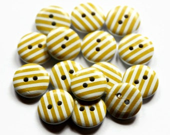 15 Yellow Striped Buttons - 15mm Buttons - Pack of 15 - Yellow and White Buttons - Wooden Buttons - Stripey Button - Round Wood Button PW406