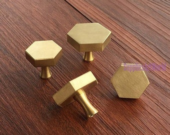 Brass Hexagon Knobs Handles Drawer Pulls Handles Cabinet Knobs Handles  Pulls Dresser Knobs Handles Kitchen Furniture Door Hardware Knob Pull