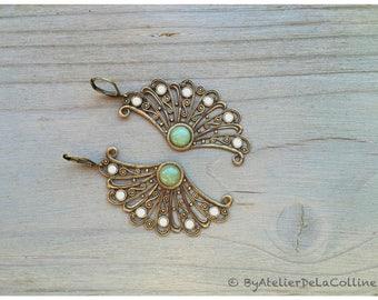 Fan earrings with aventurine cabochon and Crystal Powder Green Swarovski