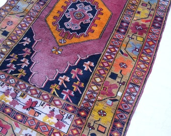 "8'x""x3'11"" Mauve Pink Navy and Yellow Vintage Turkish Runner Rug"