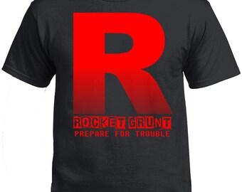 Pokemon. Team Rocket Grunt Tshirt. Prepare for Trouble. Rocket Grunt Pokemon Go. Pokemon Go Tshirt