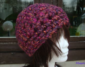 Chunky Hat knit crocheted with fingers, purple, pink, warm and soft