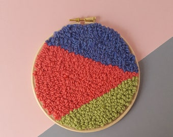 Punch needle embroidery wool wall hanging
