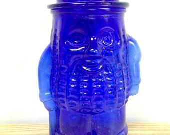 Vintage Mr. Peanut Cobalt Blue Glass Peanut Cookie Jar