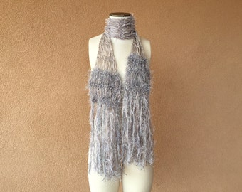 Grey Scarf Silver Scarf Skinny Boho  Sparkle Fringe Light Scarf Thin Scarf Taupe Beige Long Scarf