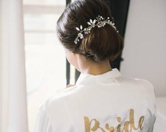 Silver Bridal Hair Vine, Bridal Headpiece, Pearl Hair Vine, Leaf Hair Vine
