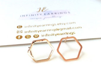 Hexagon Earrings, Gold Hexagon Stud Earrings ,Rose Gold Geometric Earrings ,Dainty Hexagon Earrings, Minimal Studs,Gold Geometric Studs