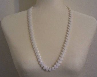 White Square Beaded Necklace, Long Plastic Vintage Necklace