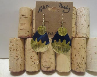 Blue & Gold Drop Earrings