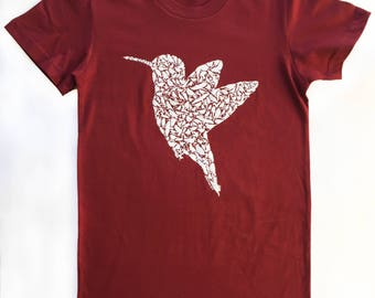 Hummingbird T Shirt for Women on American Apparel with Wild California Birds 100% Cranberry Red Cotton Sizes (S M L XL XXL)