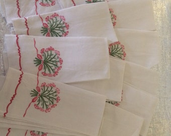 12 Vintage Hand Embroidered Linen Fingertip Tea Napkins