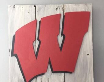 Rustic UW Madison Wisconsin Badgers Decorative Wall Decor Sign