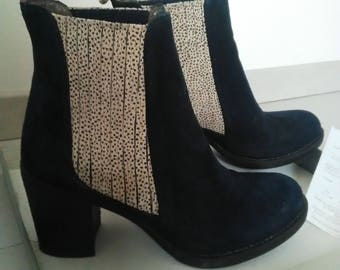 DISCOUNT boots leather Navy Blue nubuck side nubuck Leopard print and elastic, model brand ALIWELL DUBLIN, size 36