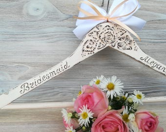 Bridesmaid hangers  Personalized Bride hanger Bridal hanger Hanger with name Bridesmaid hanger gift Wedding dress hanger Shabby chic hanger