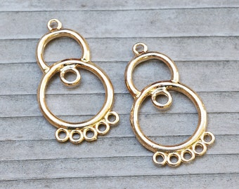 24k Gold VERMEIL Chandelier Earring PAIR 29mm, 6 loop, component, connector, bohemian, gypsy, gold plated sterling silver