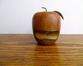 Vintage Wooden Apple Bottle Opener