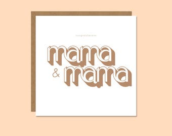New Parents Card – Congratulations Mama and Mama – Celebration – New Baby – Congratulations - Bronze
