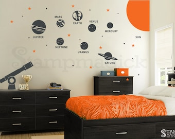 Planets Wall Decal - Solar System Vinyl Wall Decor - Outer Space Wall Art Graphics - Vinyl Wall Decal for Bedroom - K219R