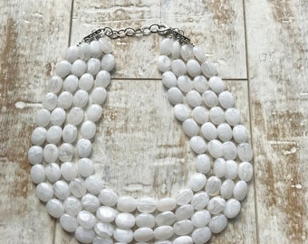 White Beaded Necklace, Multi Strand Necklace, White Statement Necklace, ACRYLIC Necklace, Bridal Necklace, Bridesmaid Necklace