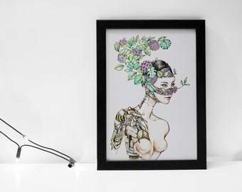 Organic Cyborg Art Print-Robotics-Human-Nature-Portrait Art