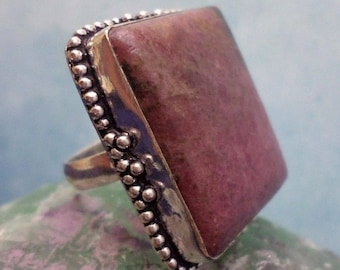 RING 925 sterling silver and RHODONITE (BA147)