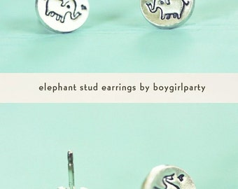 Tiny STUD EARRINGS for sensitive ears - Silver elephant Earrings, tiny silver studs - Elephant Stud Earrings - sterling silver earrings