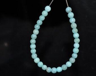 30 Pieces 4mm Heavenly -Sky BLUE AMAZONITE Mini Round Beads - I0570E