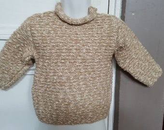 Hand knit beige sweater for girl 2 years.