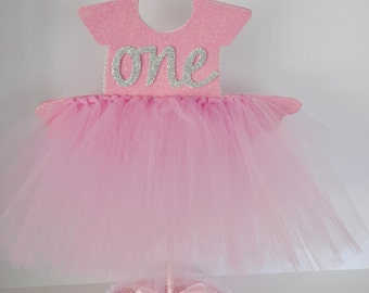 First Birthday Party Pink Centerpiece Princess BallerinaTutu Tulle Pearls Glitter