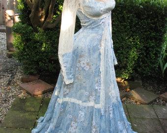 1970's Vintage Gunne Sax Robins Egg Blue Paisley Victorian Prairie Gown~7