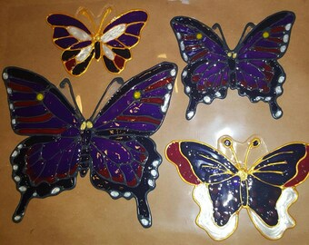 Butterflies 4 different sizes stained glass window Clings