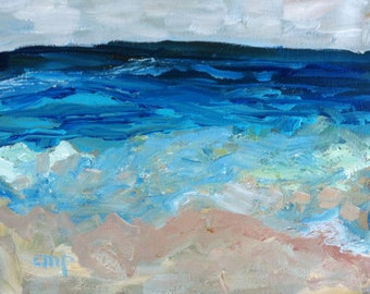 Abstract seascape painting, fine art, original painting, sfa, 8x10 art, wall candy, modernimpressionist