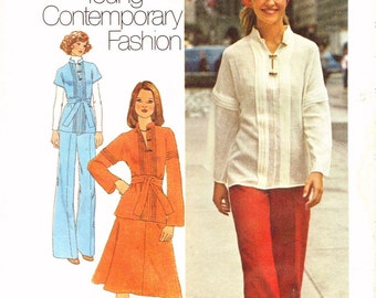 1970s Bust 32 1/2 Misses Boho Two Piece Top Blouse Skirt Pants Young Contemporary Fashion c 1975 Simplicity 7258 70s