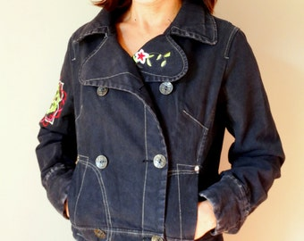 Cropped bomber jacket denim bomber grunge 90s women embroidered winter jacket black denim coat Vintage 90s size M /Ref 17