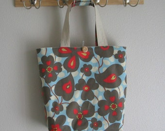 Roll Up Market Bag - Morning Glory in Linen - Shopping Bag - Washable Bag - Shopping Tote - Beach Bag - Blue and Gray Bag - Large Canvas Bag