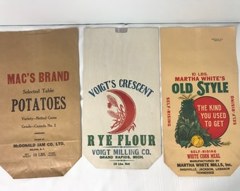 3 Vintage Unused 10lbs Paper Bag Lot Mac's Brand Potatoes, Voigt's Crescent Rye Flour, Martha White's Old Style Corn Meal - Vtg Advertising