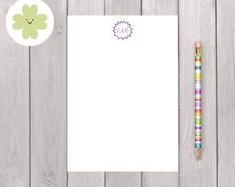 Wreath personalised notepad, modern monogram message pad, custom notepad, personalised stationery, notepad A5, any colour