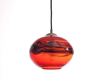 Abu Opal Red with Black Band Blown Glass Globe Pendant Light