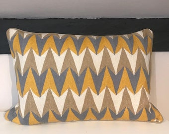 Hand Embroidered Geometric Cushion Cover Made by Artisans in Kashmir