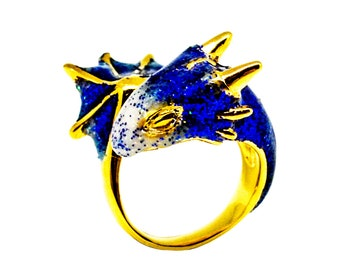 Gold Sapphire Dragon Ring