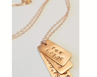 three layered custom vertical rectangle stamped gold silver rose necklace
