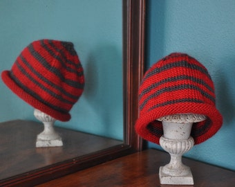 Child Hat, Toddler Hat, Hand Knitted Hat, Todler's  Accessories Fall Fashion, Red, Grey, Striped Hat, Super Soft Beanie, Rolled Brim Hat
